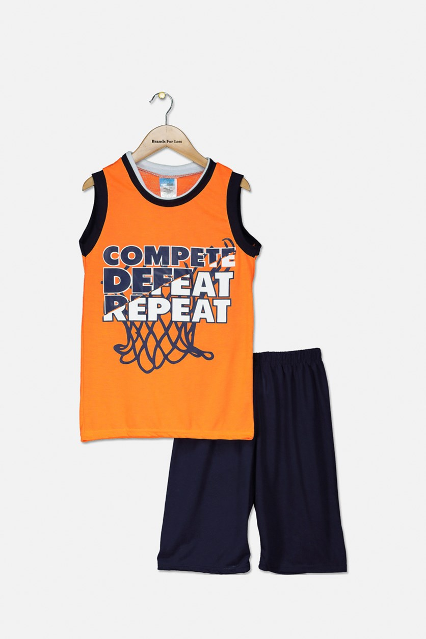 Kid's Boys' Graphic Pajama Short Set, Orange/Navy