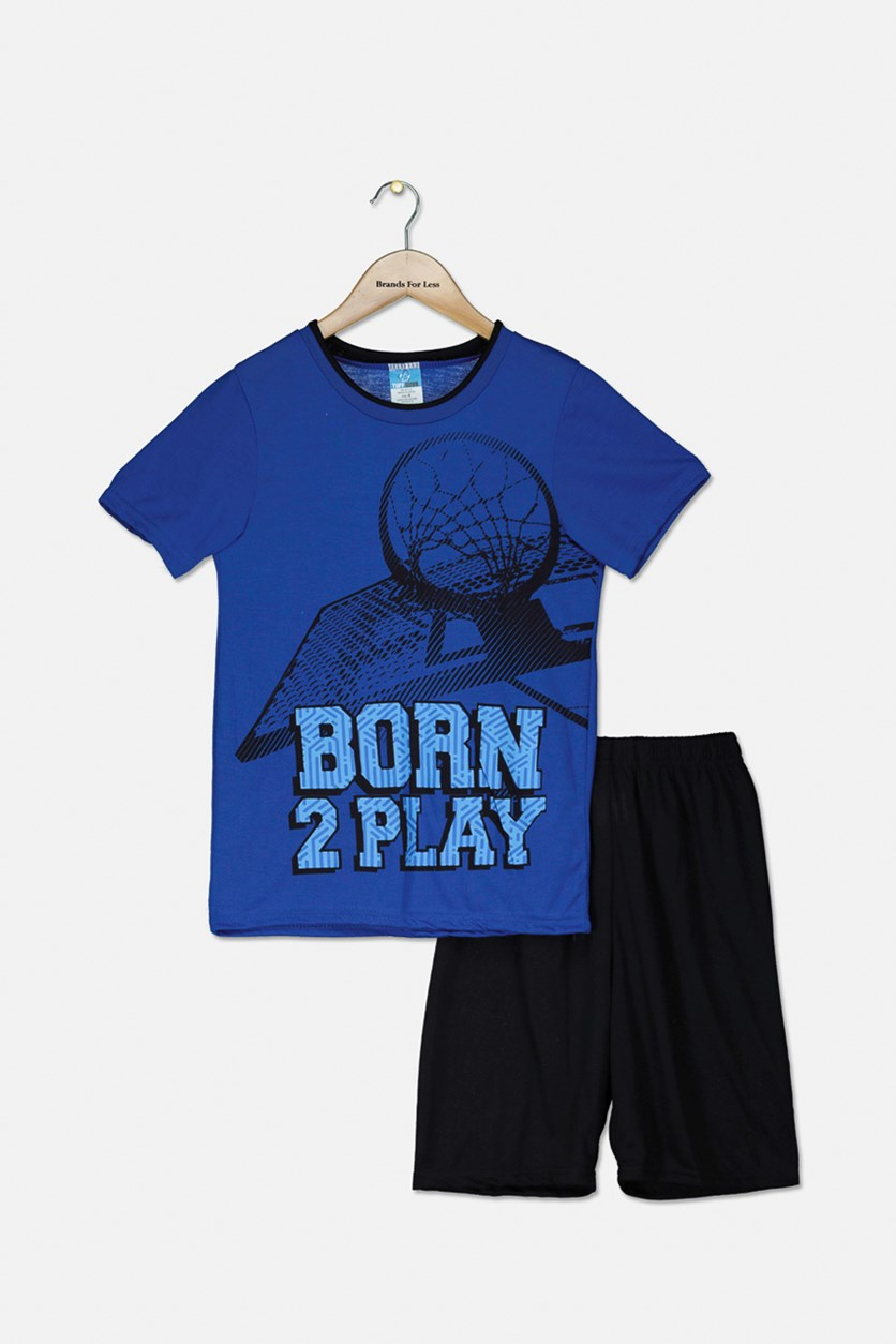 Kid's Boys Graphic Pajama Short Set, Blue/Black