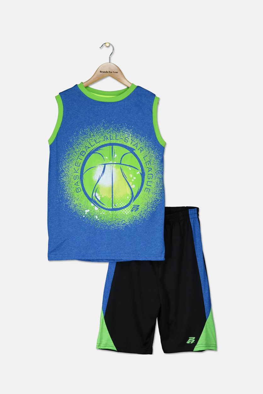 Kid's Boys Graphic Muscle Tops With Short Set, Blue/Black