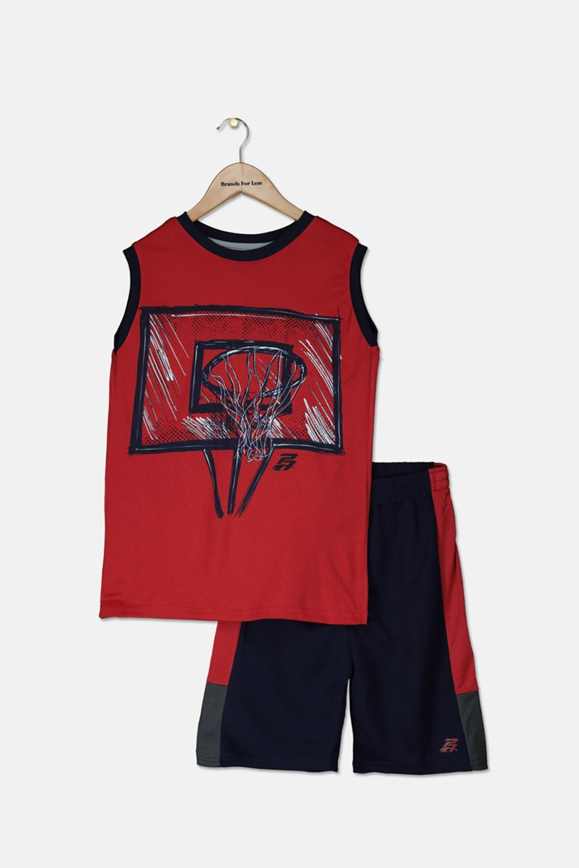 Kid's Boys Graphic Muscle Tops With Short Set, Red/Navy