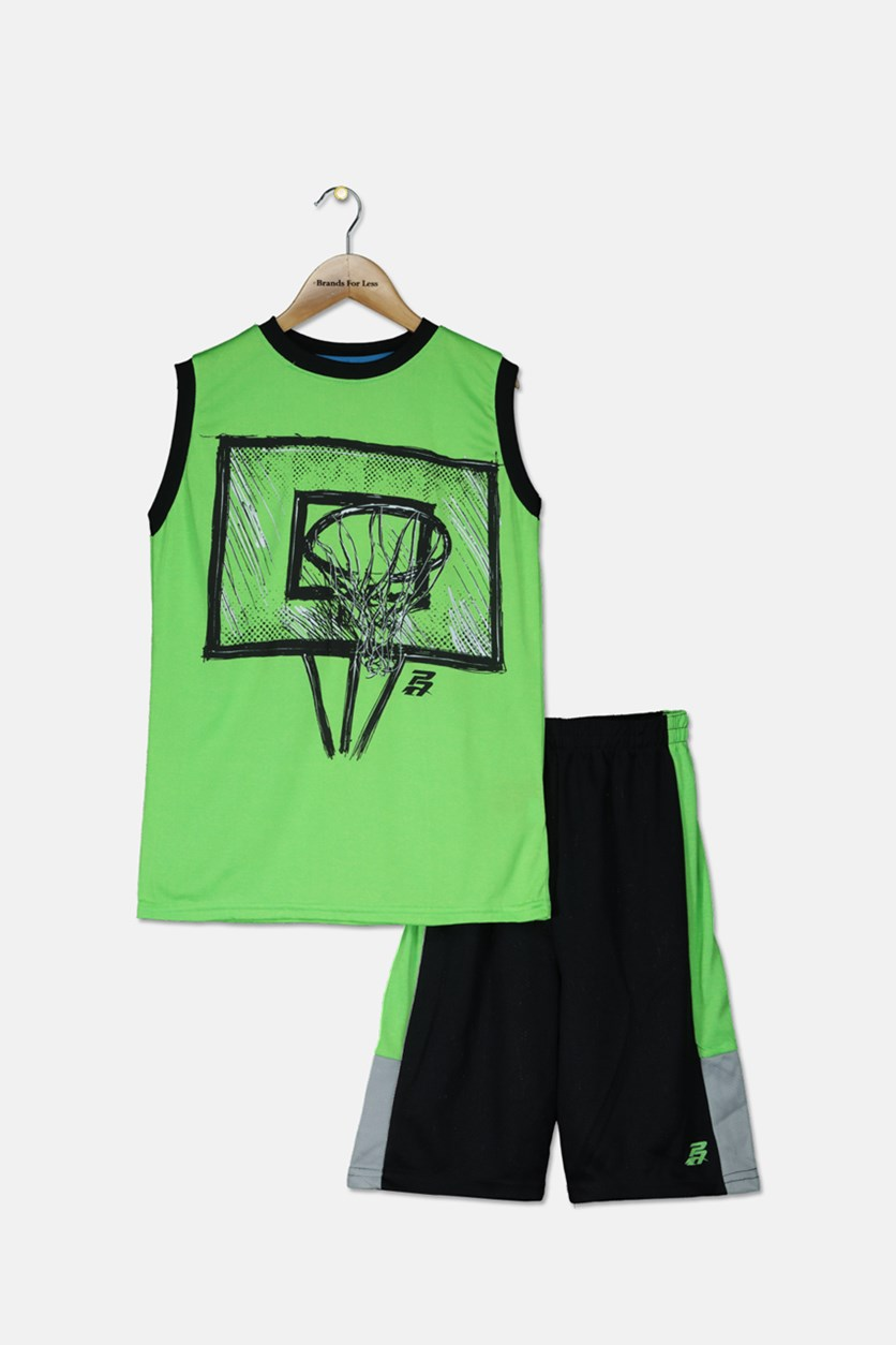 Kid's Boys Graphic Muscle Tops With Short Set, Green/Black