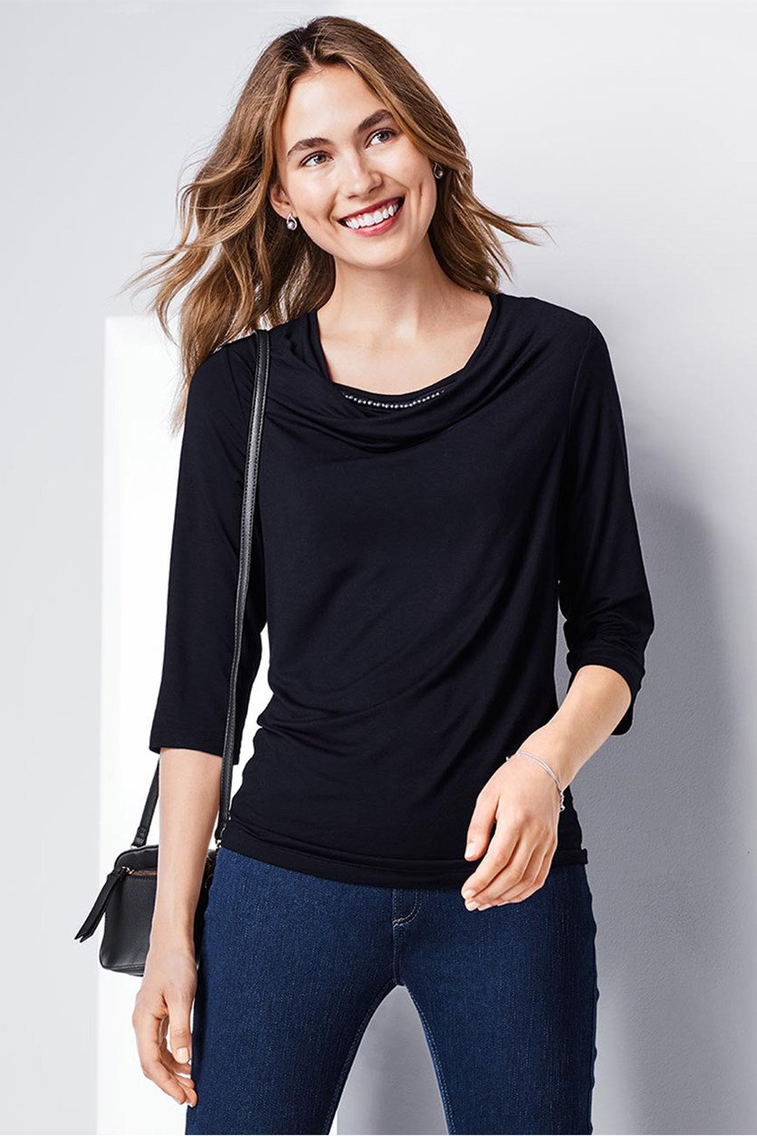 Women's Cowl Neckline Top, Dark Blue