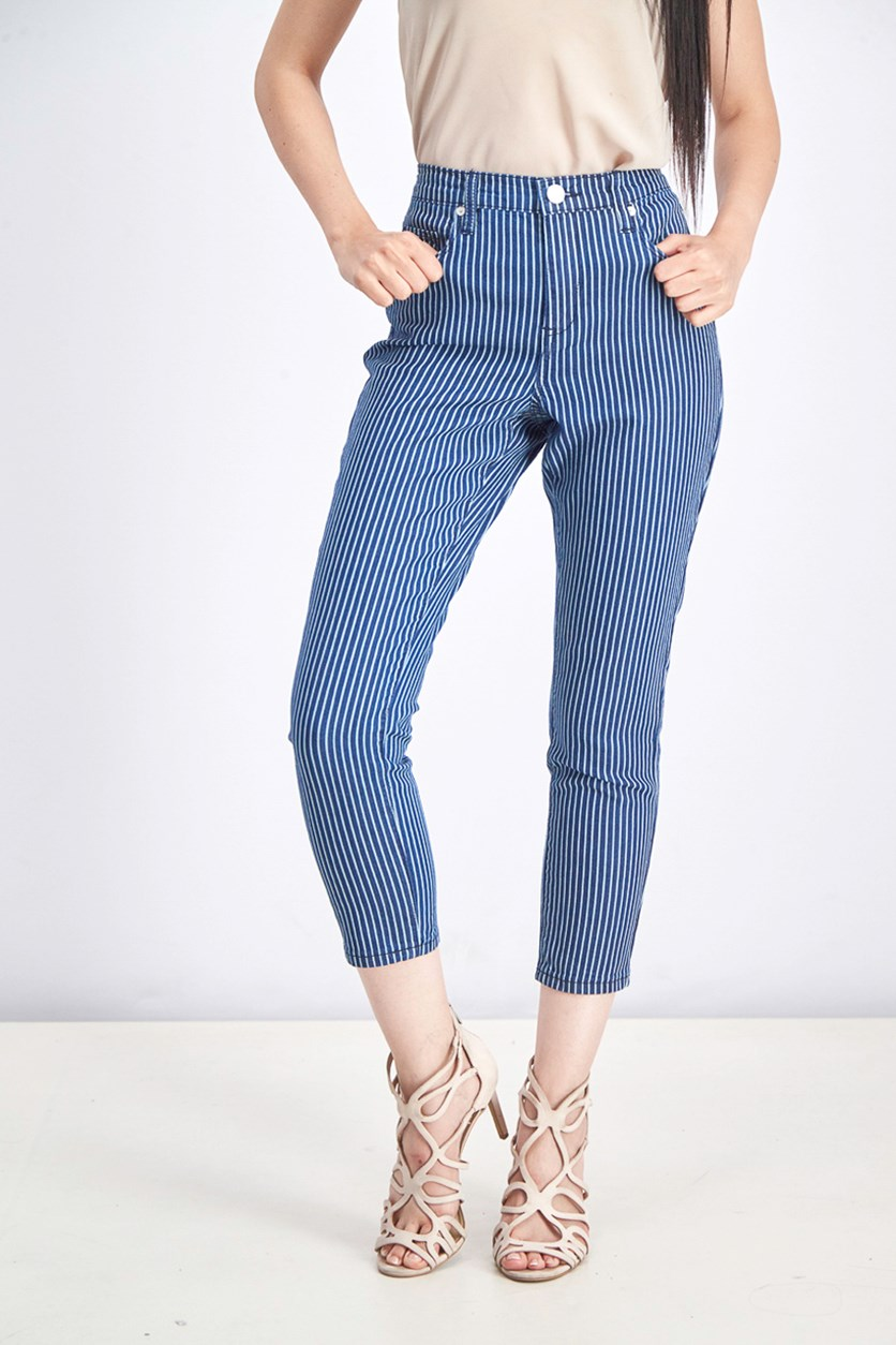 Women's Striped Crop Skinny Jeans, Indigo