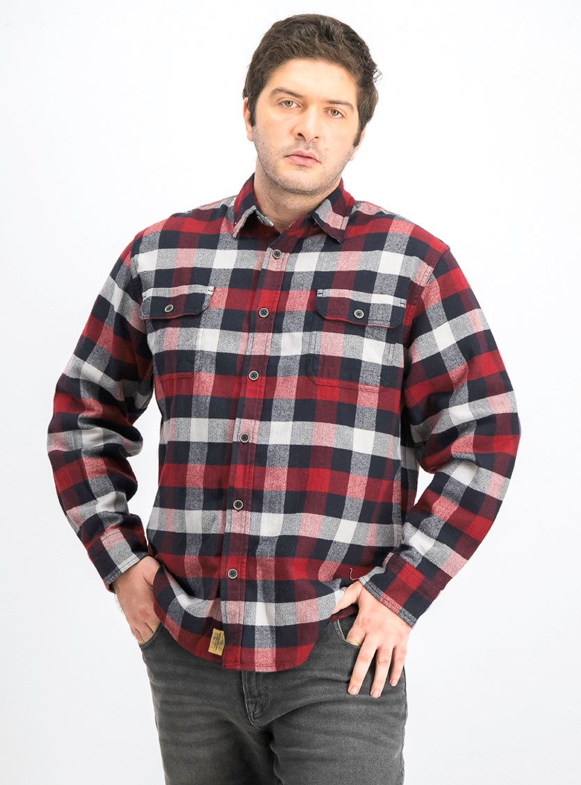Men's Plaid Flannel Shirt, Red Combo