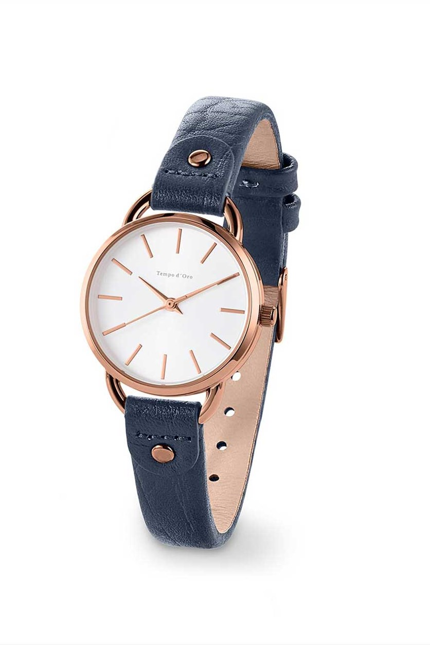 Women's Leather Watched, Navy Blue
