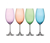 M Mann Bohemia 4 Prism Goblets, Blue/Green/Purple/Orange