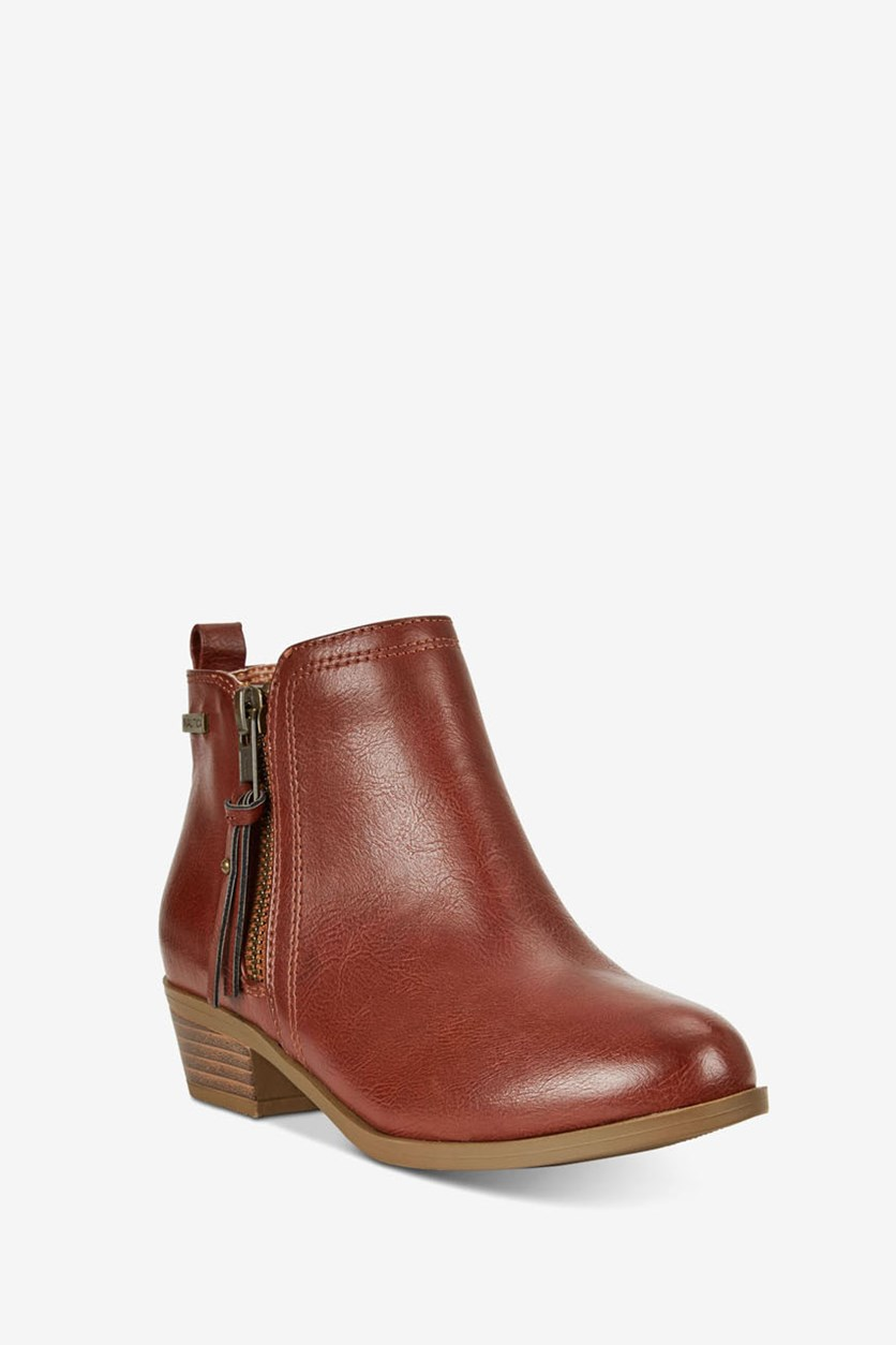 Kids Girls Short Booties, Belmonde/Cognac