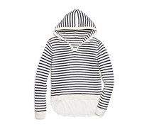Aqua Girls' Hooded Layered Look Sweater, Navy/White