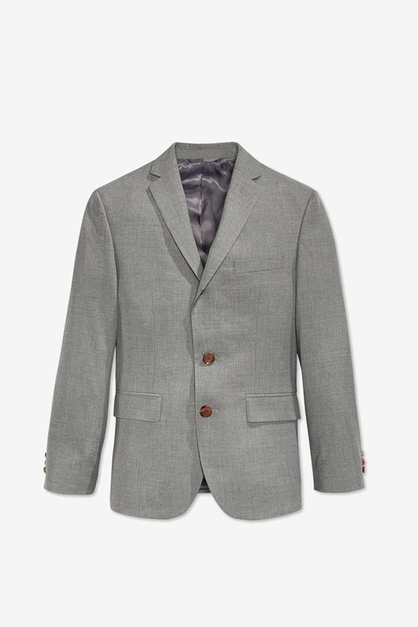 Boy's Solid Blazer, Light Grey