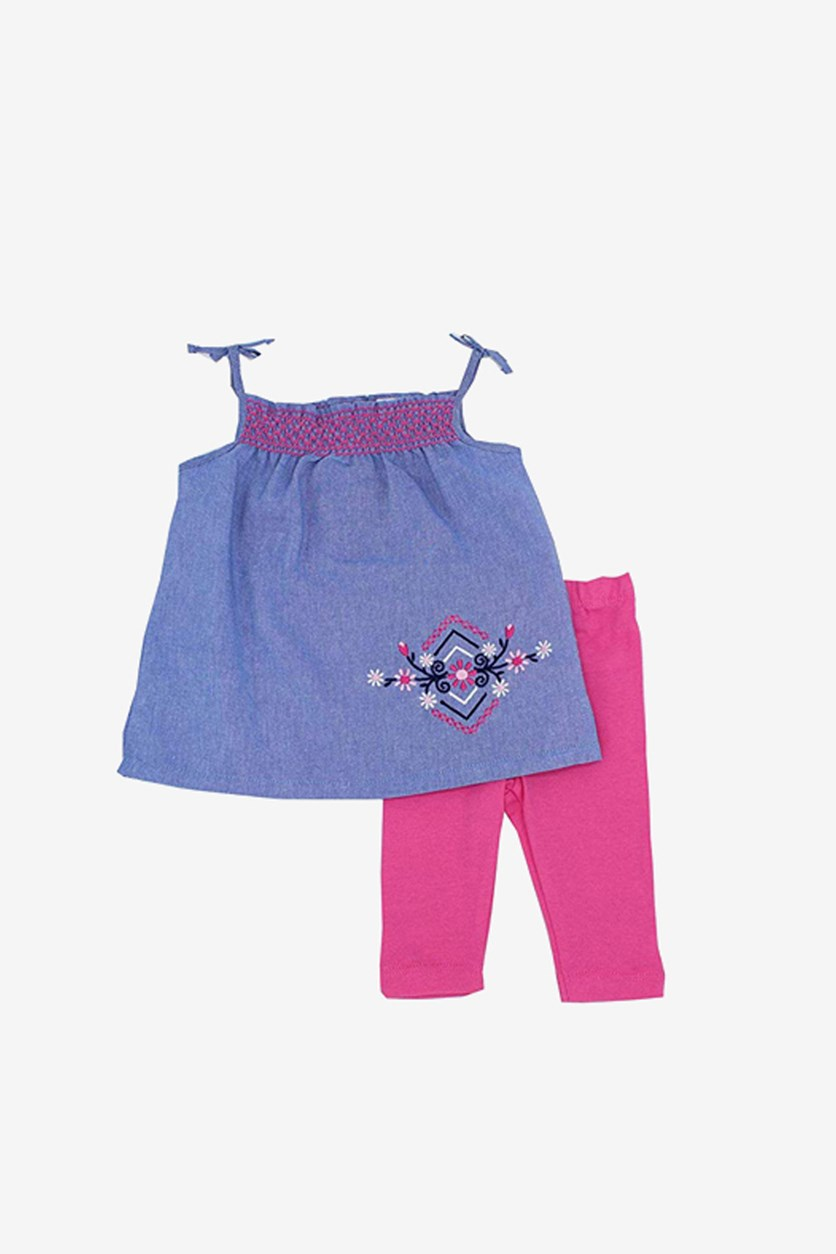 Girl's Top And Bottom Set, Chambray/Pink