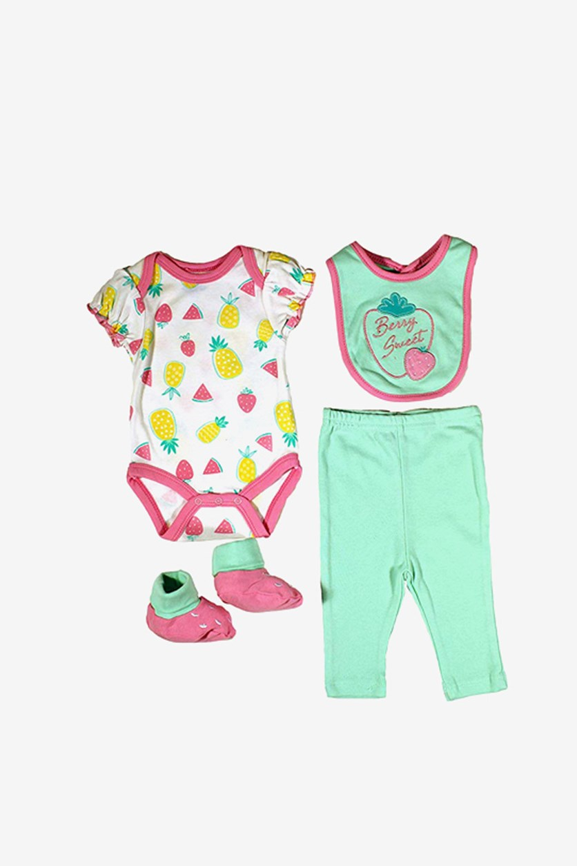 Girl's Bodysuit, Pants, Bib and Booties Set, Green Combo