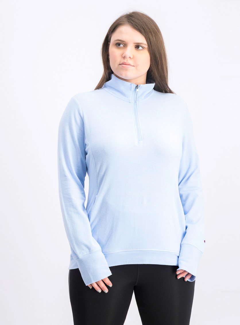 Women's Longsleeves Half Zip Top, Ocean Blue