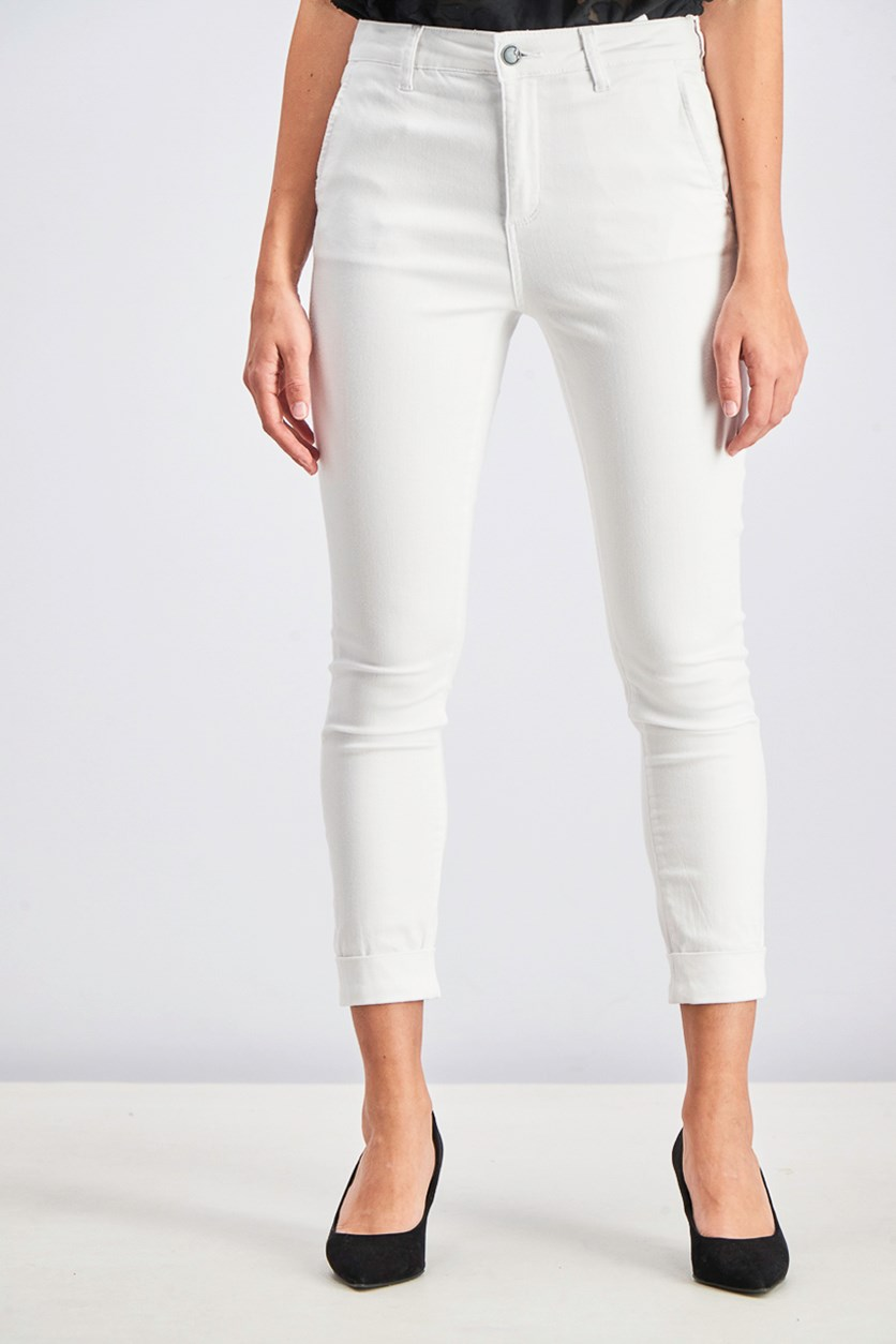Women's Solid Jeans, White