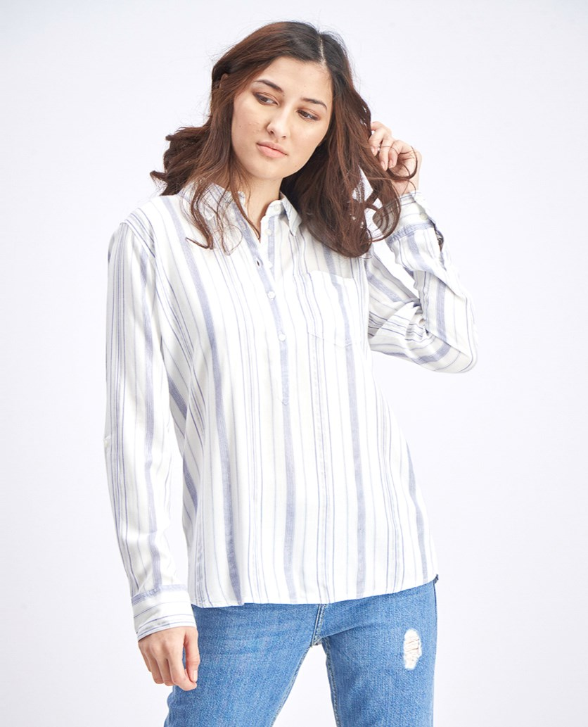 Women's Kylie Stripe Button Detail Top, White/Blue