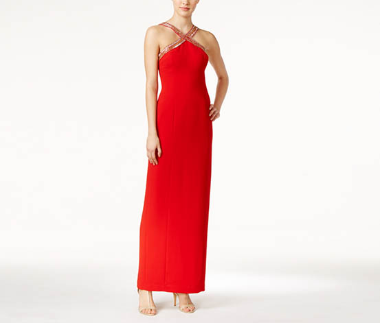 Calvin Klein Women's Beaded X-Front Crepe Gown, Red