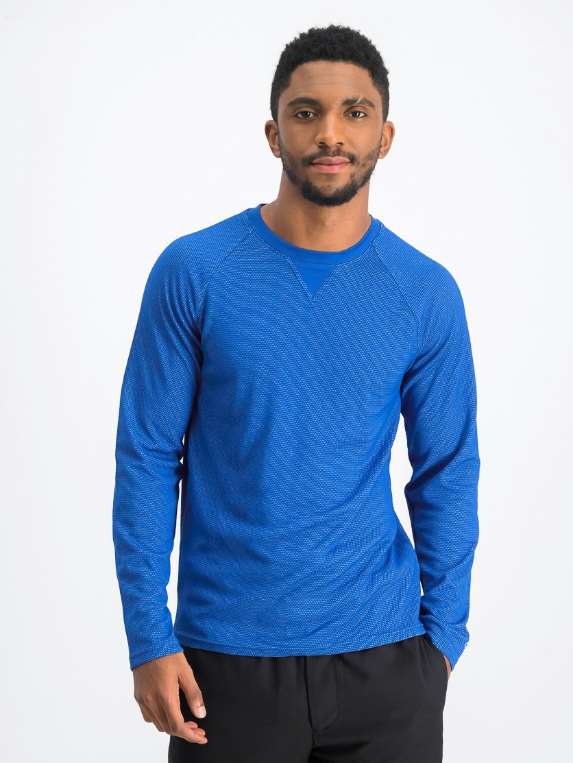 Men's Long Sleeves Athletic T-Shirt, Royal Blue