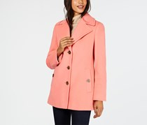 Calvin Klein Women's Wool-Blend Single-Breasted Peacoat, Pink