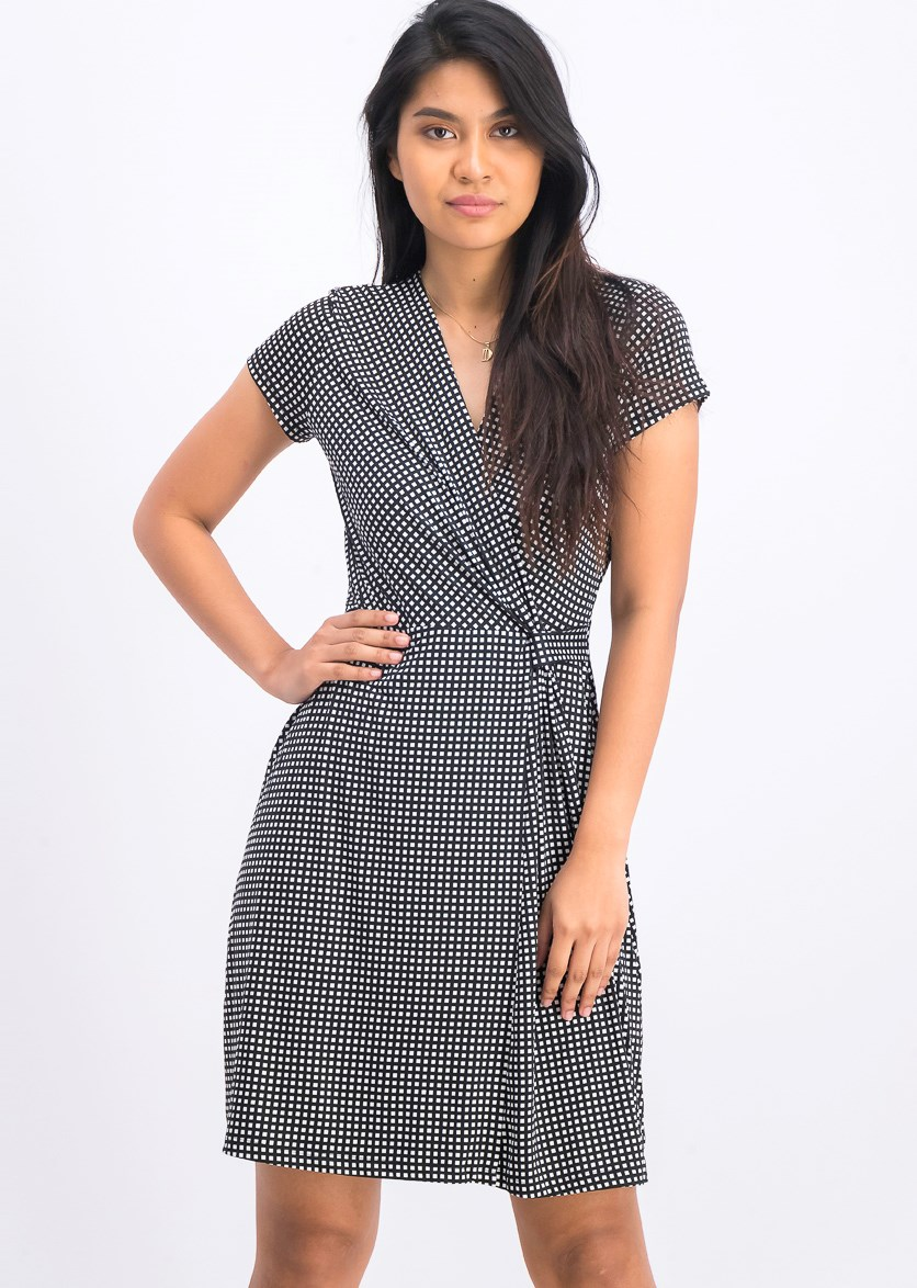 Women's Checkered Dress, Black/White