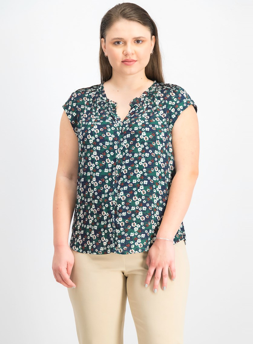 Women's Floral Blouse Top, Black