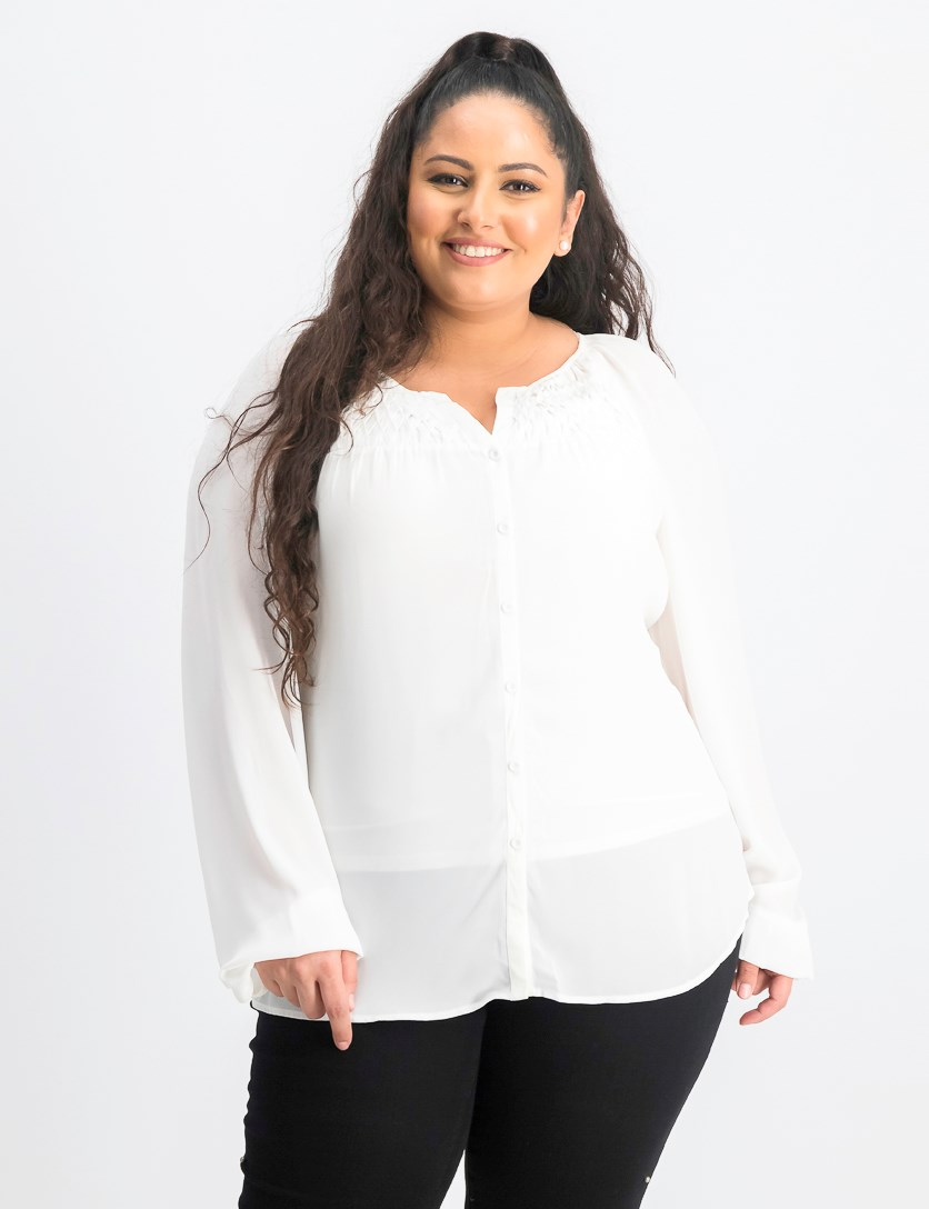Women's Button Down Longsleeve Top, White