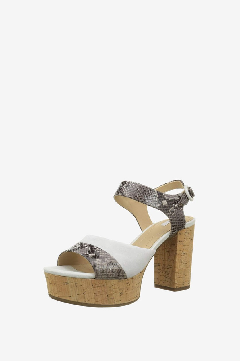 Women's D Galexia Sandals, Smoke Grey/Off White