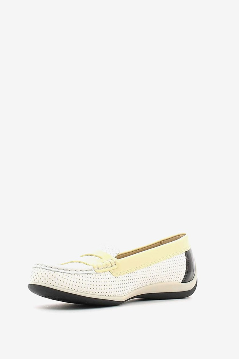 Women's D Yuki Flat Shoes, White/Light Yellow