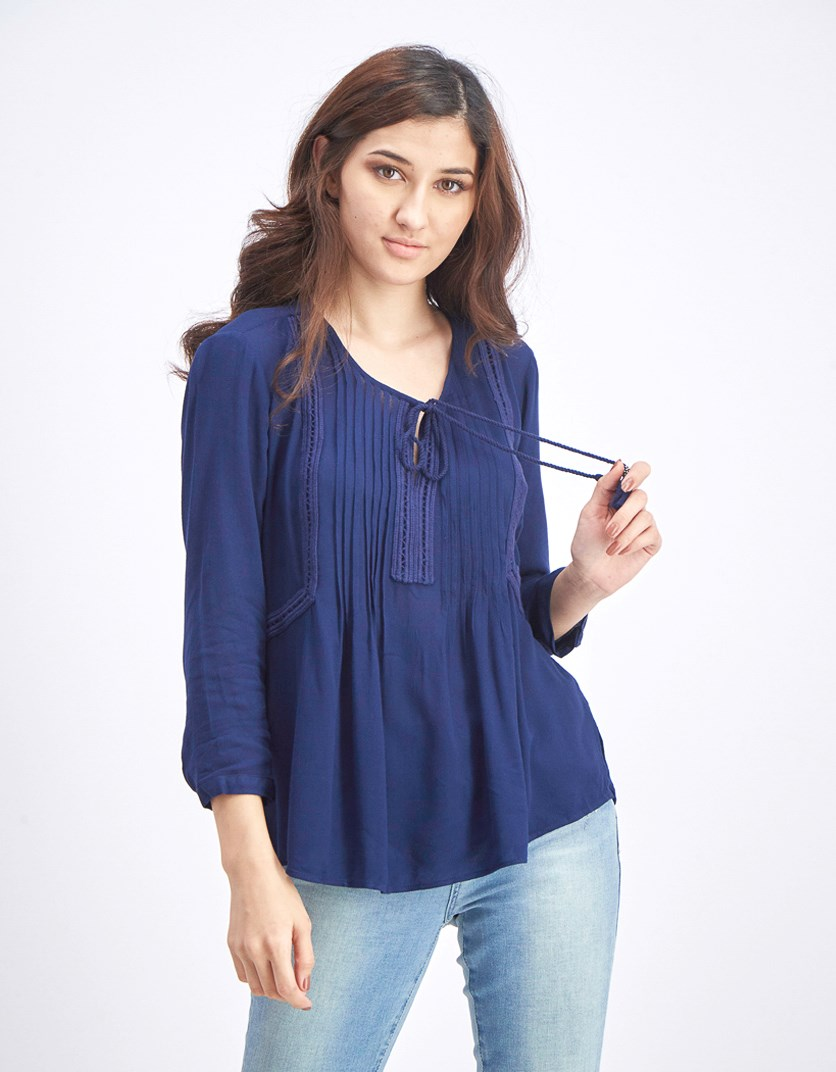 Women's Pleated Tops, Navy