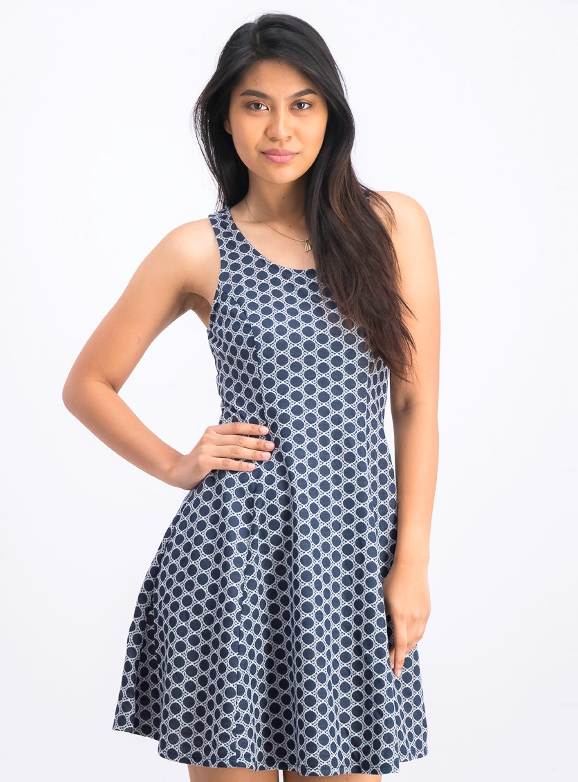 Women's Fit & Flare Dress, Navy/White