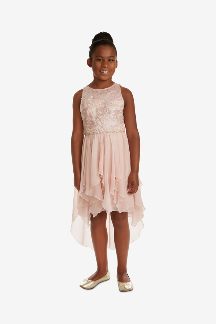 Big Girl's Sequin Embroidered Dress, Blush Pink