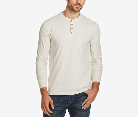 Men's Brushed Jersey Henley, White
