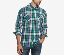 Vintage Men's Burnout Plaid Flannel Utility Shirt, Green