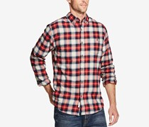 Men's Plaid Long Sleeves Button-Down Shirt, Biking Red
