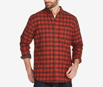 Vintage Men's Plaid Brushed Flannel Shirt, Red