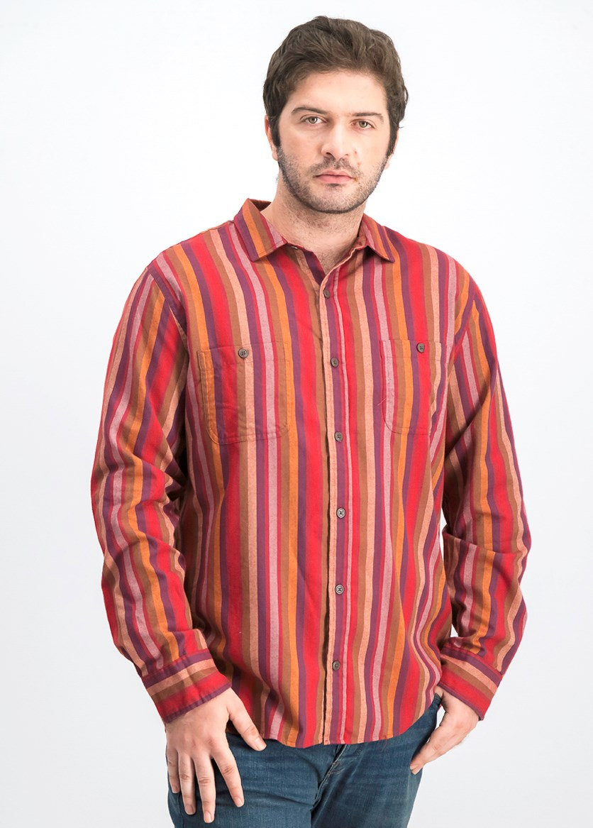 Men's Brushed Twill Shirt, Rust/Red Combo