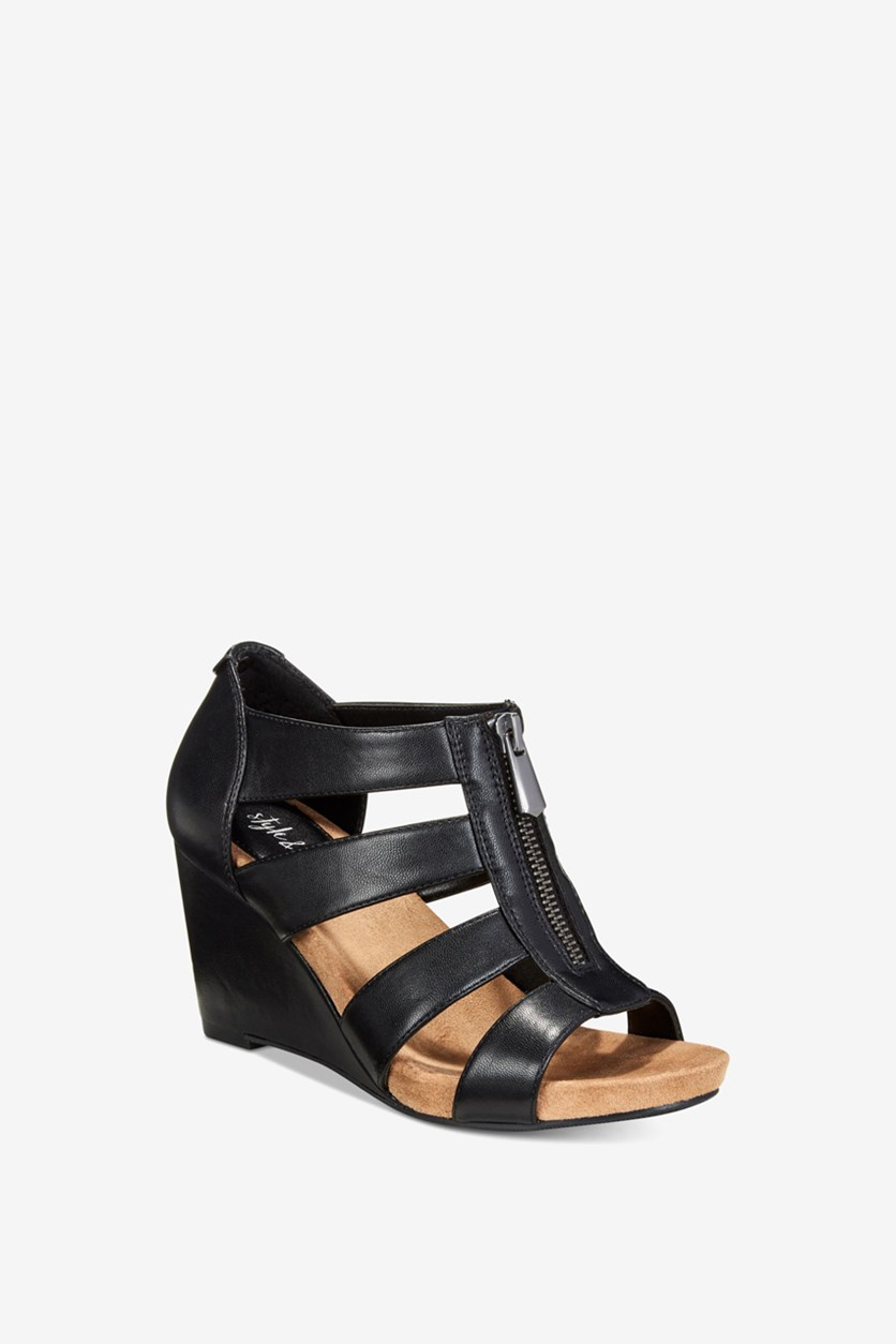 Women's Fettee Wedge Sandals, Black