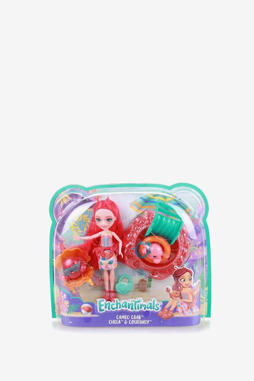 Girl's Cameo Crab Dolls Set, Red Combo