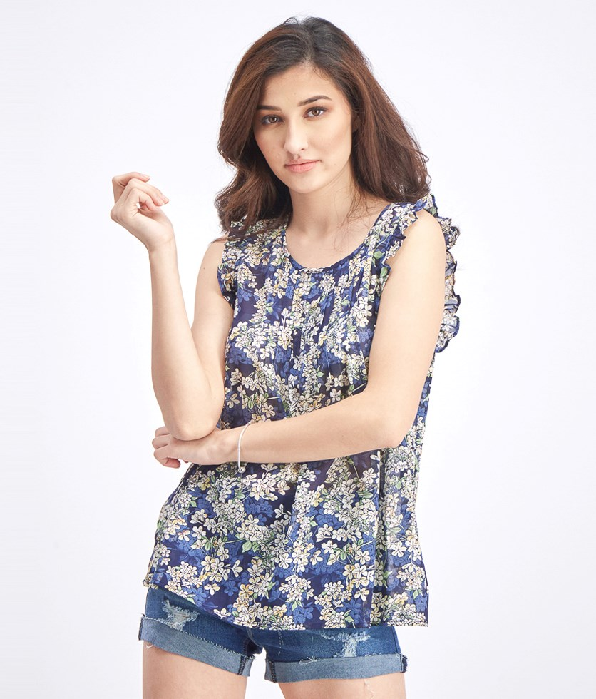 Womens Flutter Sleeve Blouse, Navy Floral