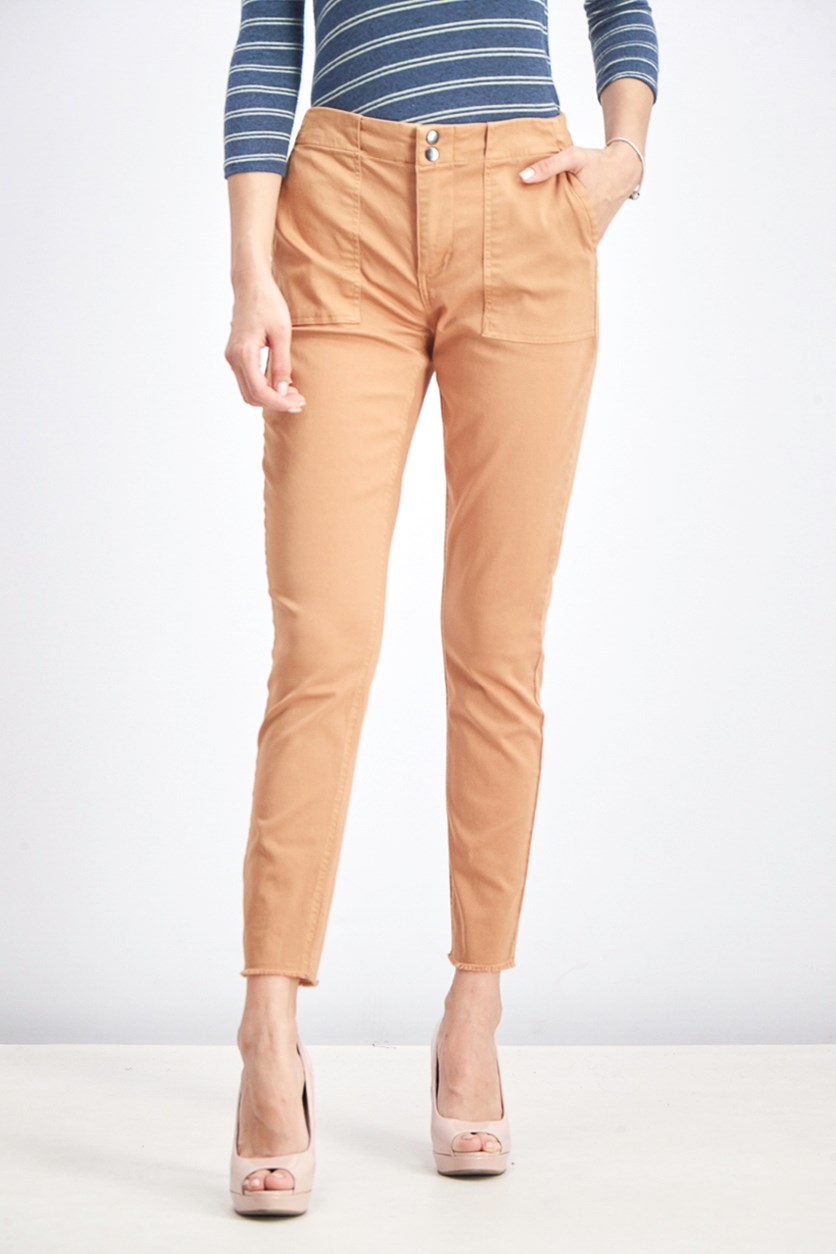 Casia Frayed Hem Chino Pants, Caramel