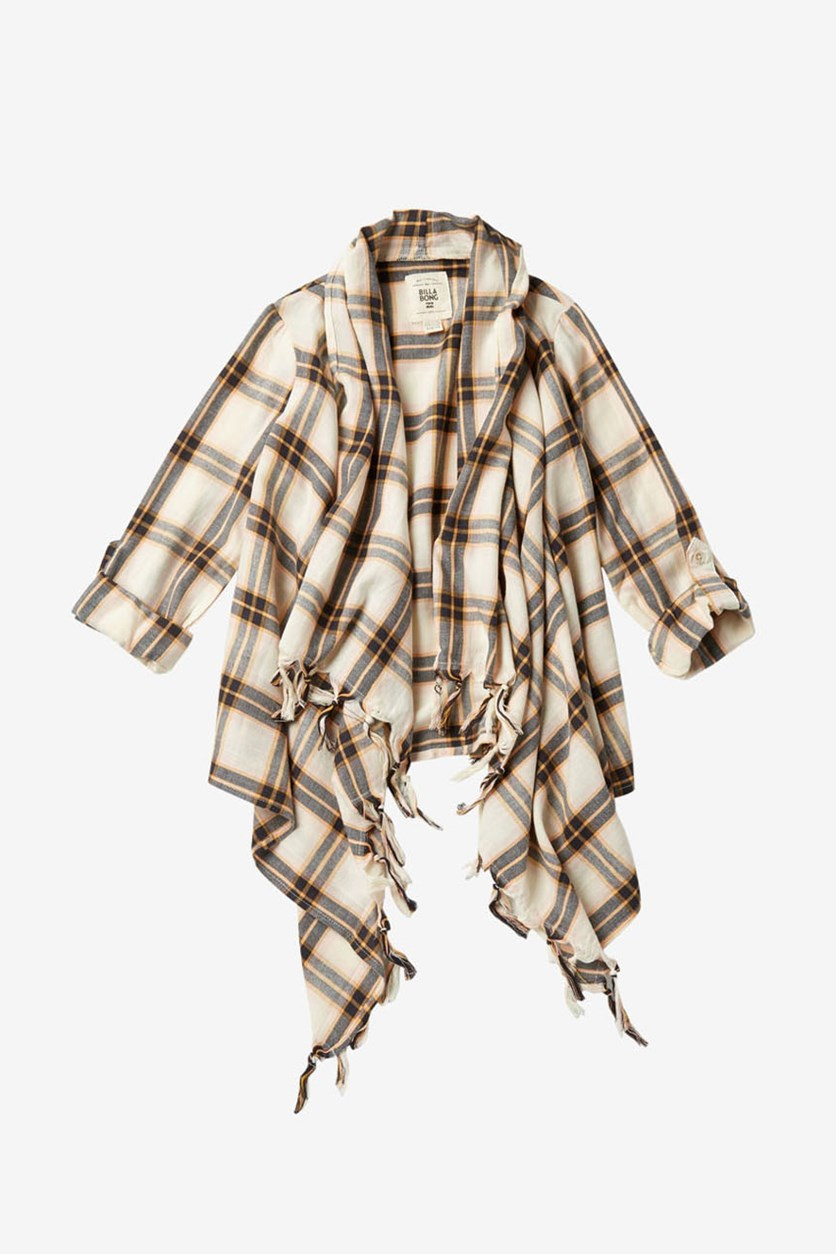 Kids Girls Scenester Plaid Open Front Cardigan, Cream/Black/Yellow