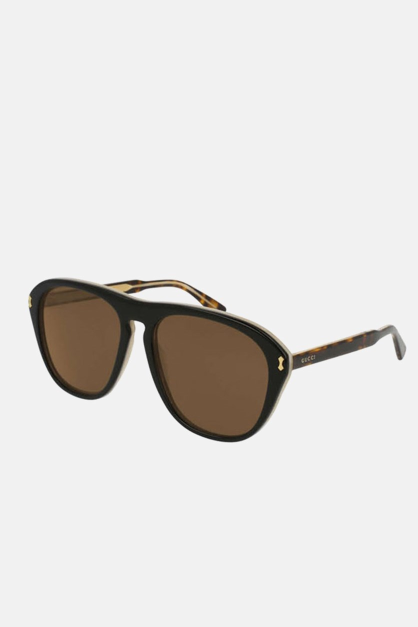 Men's GG0128S Fashion Sunglasses, Brown/Black