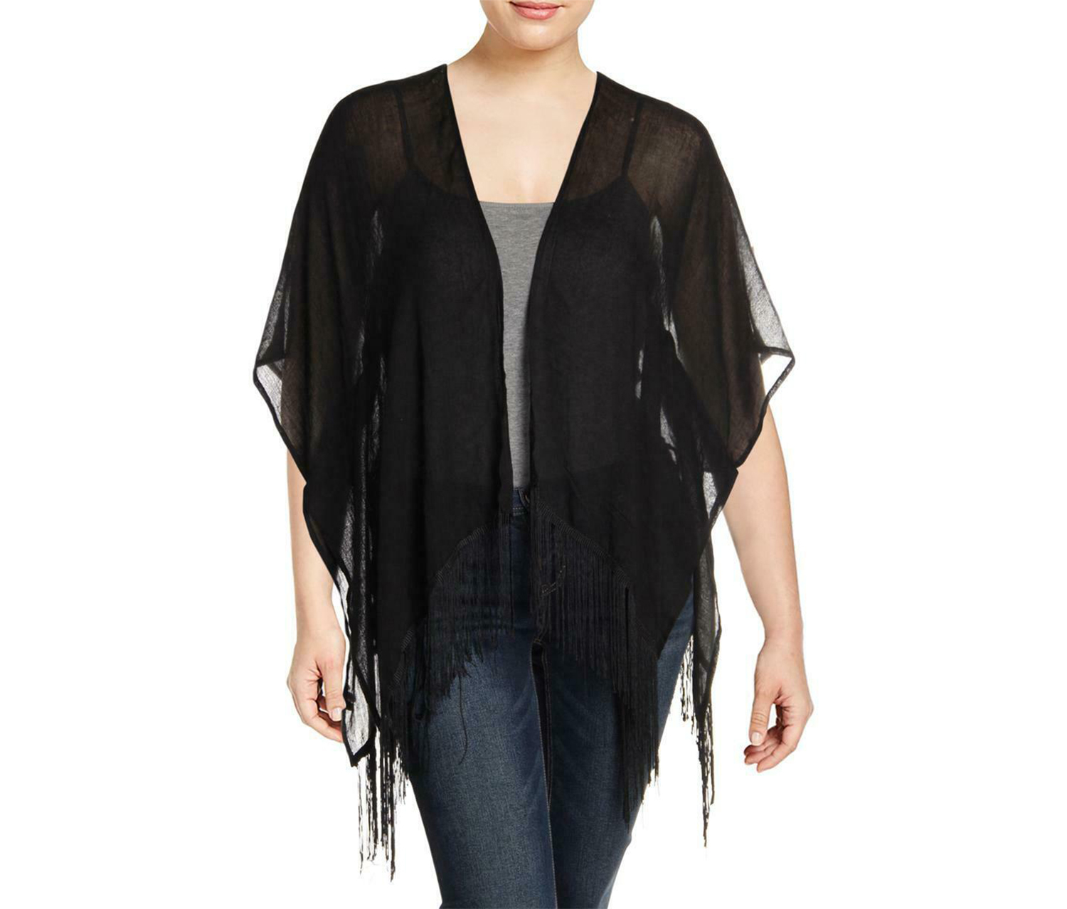 Bcbgeneration Women's Tropic Spirit Solid Kimono, Black