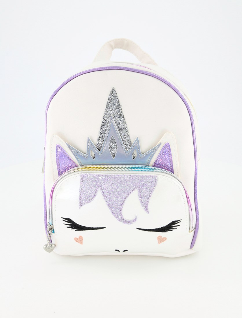 Girl's Unicorn Queen With Metallic Face Backpack, White