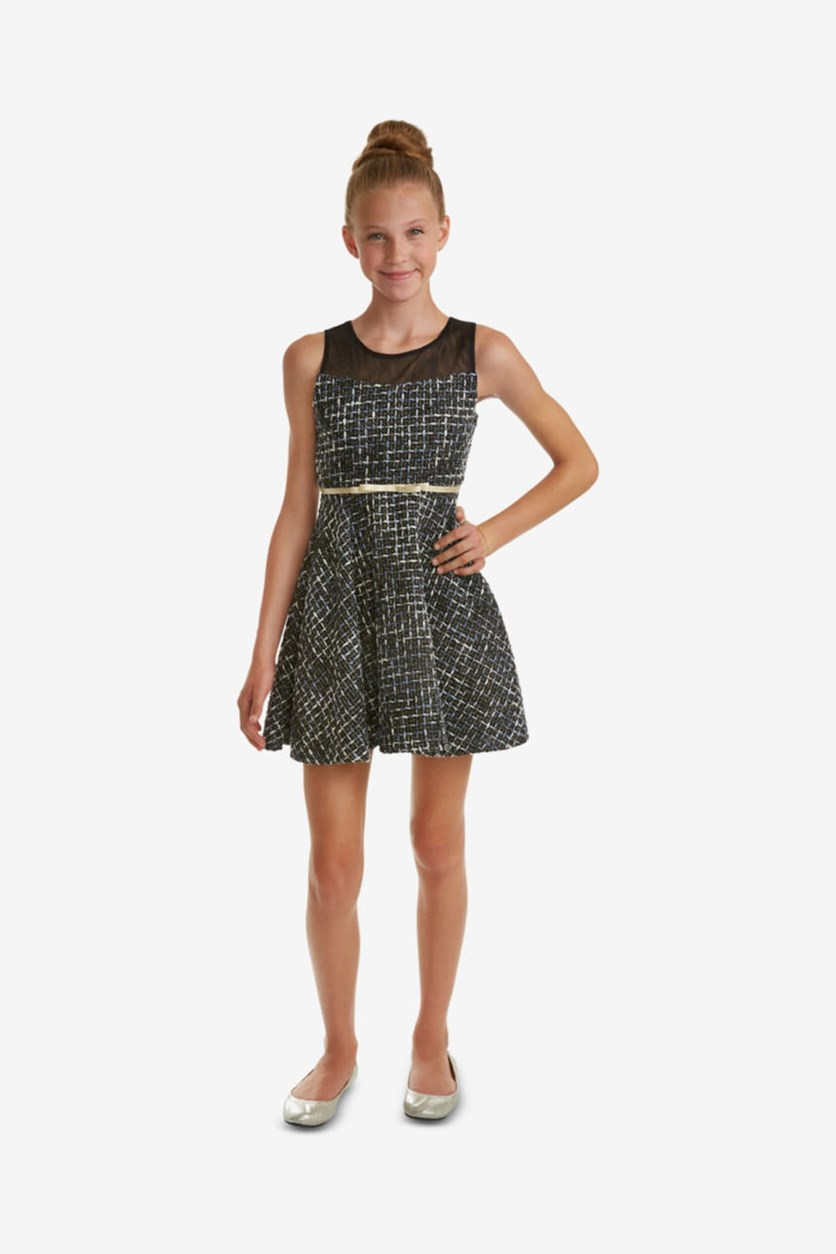 Big Girls Illusion-Neck Tweed Dress, Charcoal