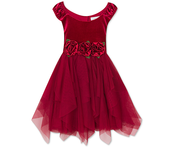 Rare Editions Little Girls Rose-Trim Velvet Dress, Maroon