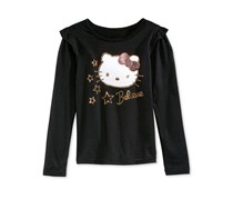 Hello Kitty Girl's Graphic-Print T-Shirt, Black
