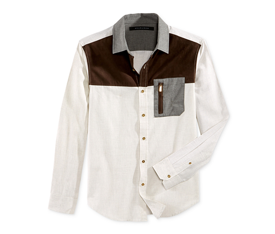 Men's Colorblocked Pocket Shirt, Cream