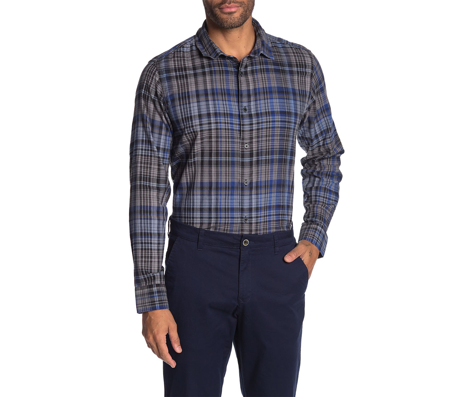 IKE Behar Men's Plaid Long Sleeve Shirt, Blue/Black