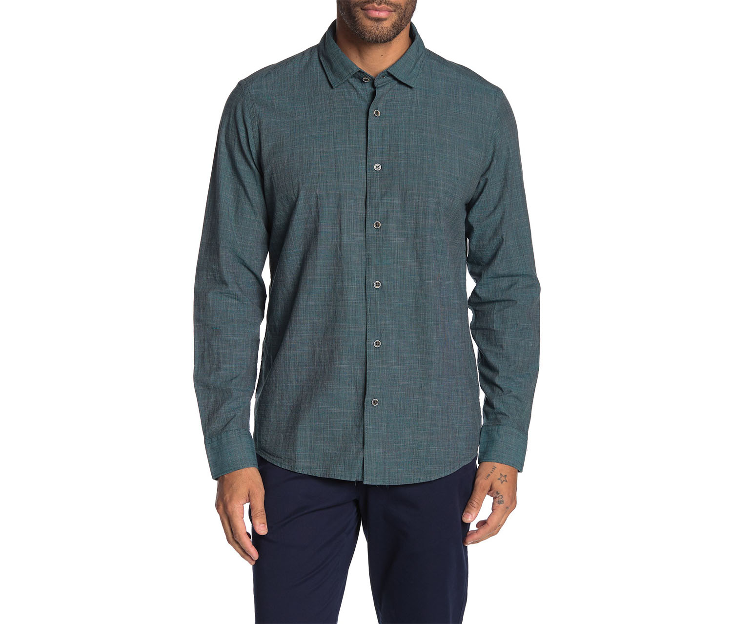 IKE BEHAR Men's Crosshatch Long Sleeve Shirt, Green