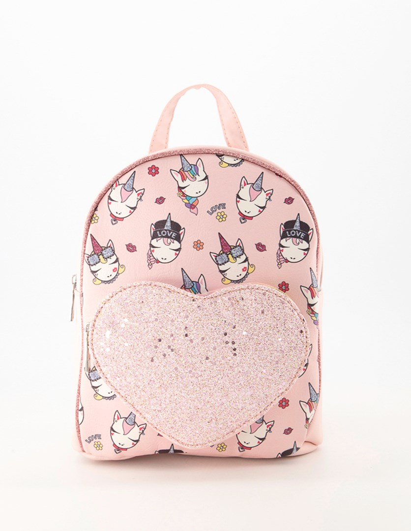 Girl's Mini Bag Faces of Unicorn With Heart Pouch, Pink