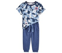 First Impressions Boys' 2-Pc Fish Camo Print T-Shirt & Pants Set, Grey/Blue